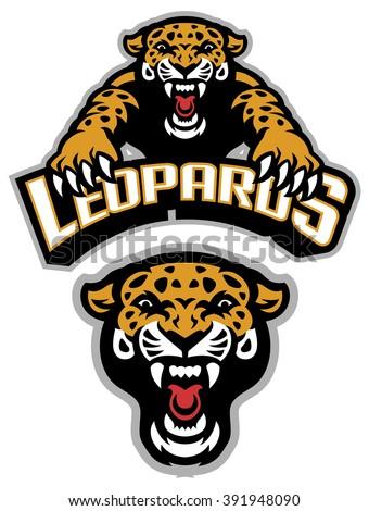 Leopard mascot set - stock vector