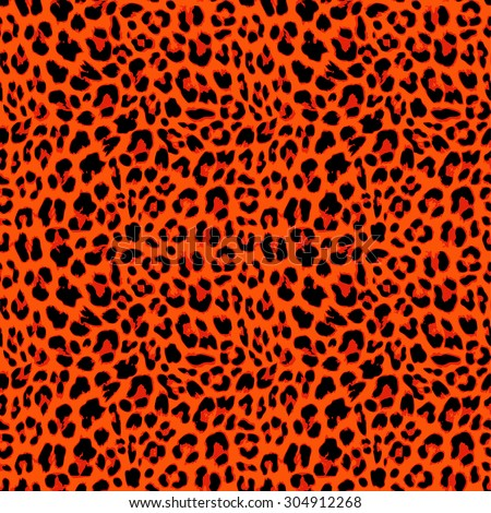 Leopard seamless pattern design in orange autumnal color, vector illustration background - stock vector