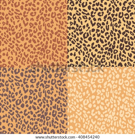 LEOPARD SEAMLESS PATTERN IN FOUR DIFFERENT COLOR - stock vector