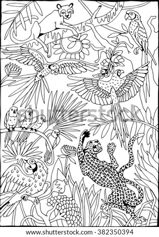 Leopards and Parrots in the Jungle coloring page - stock vector