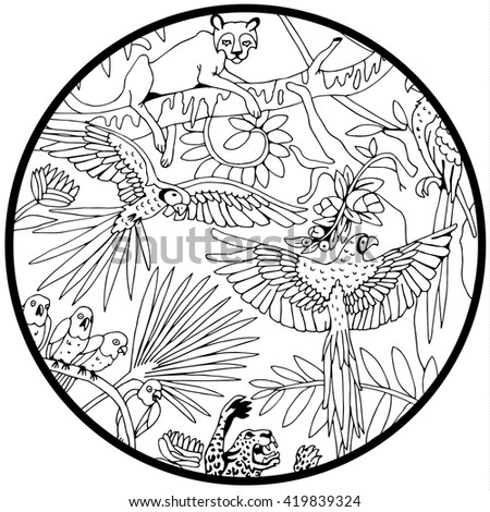 Leopards and Parrots in the Jungle in the Circle. Coloring page. - stock vector