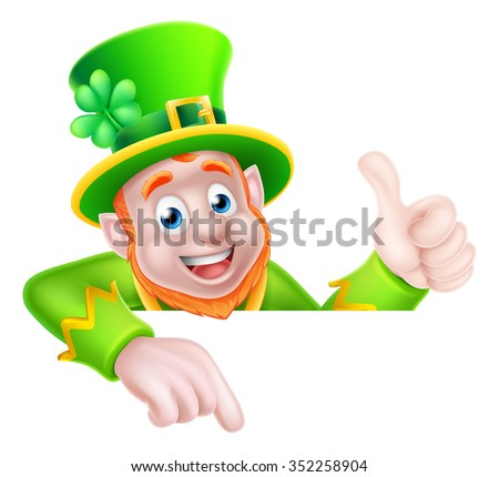 Leprechaun cartoon St Patricks Day character peeking above a sign pointing down at it and giving a thumbs up - stock vector