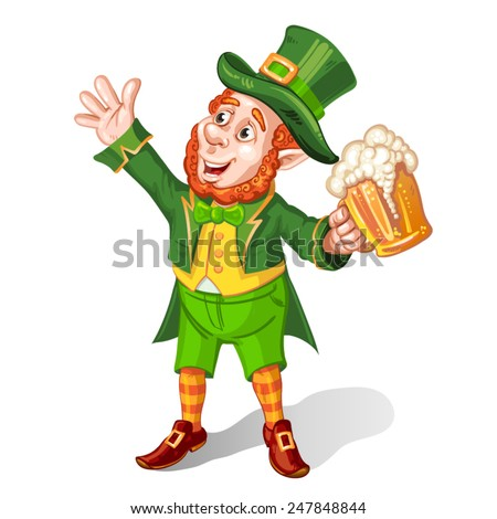 Leprechaun Drinking Beer-St. Patrick's Day Cartoon - stock vector