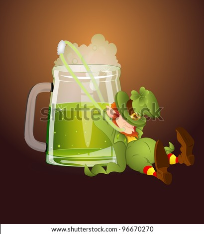 Leprechaun Drinking Beer through Straw-St. Patrick's Day Cartoon Vector Illustration - stock vector