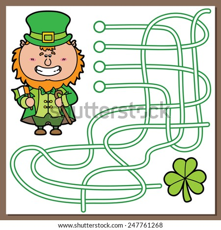 Leprechaun game. Vector illustration of maze(labyrinth) game with cute Leprechaun for children - stock vector
