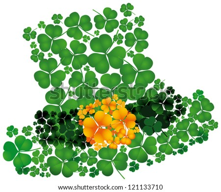 Leprechaun�´s hat of a composition consisting of clovers - stock vector