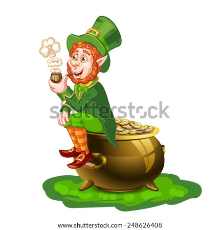 Leprechaun sitting on a pot of gold and holding a pipe - stock vector