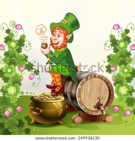 Leprechaun sitting on barrel and holding a pipe - stock vector