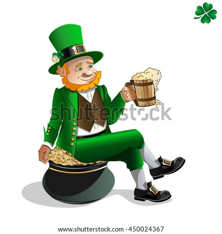 Leprechaun with beer and pot of gold