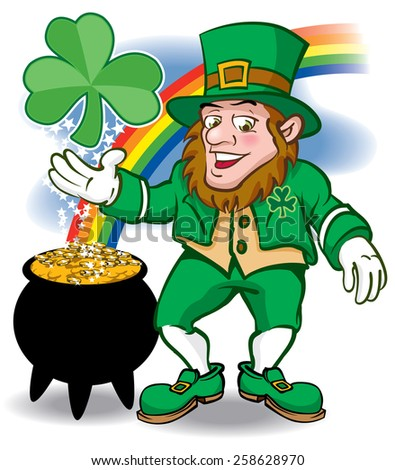Leprechaun with rainbow shamrock and pot of gold - stock vector