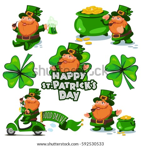 Leprechauns Character Set St Patricks Day Stock Vector 592530533
