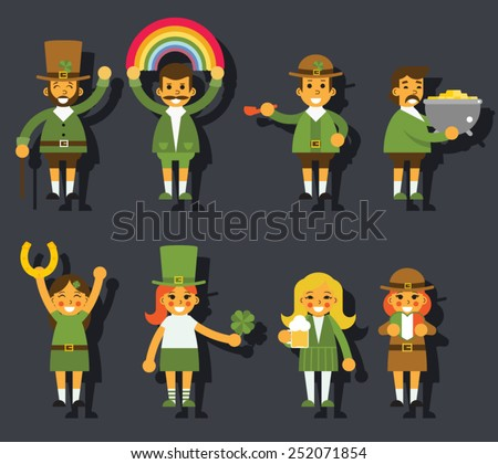 Leprechauns Ggnomes Characters set Celebration St. Patrick Icons Flat Design Icon Stylish Background Template Vector Illustration - stock vector