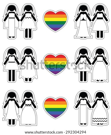 Lesbian brides icon set with rainbow element  - stock vector