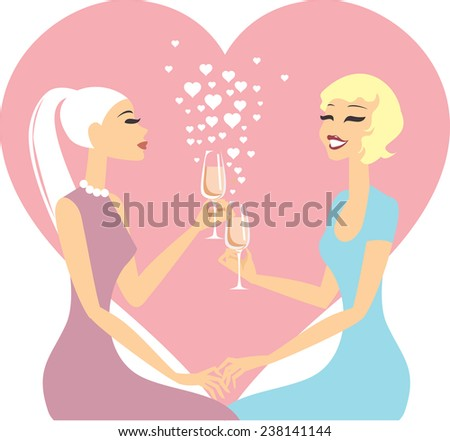 Lesbian couple in love  - stock vector