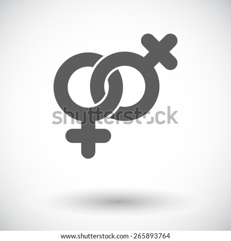 Lesbian sign. Single flat icon on white background. Vector illustration. - stock vector