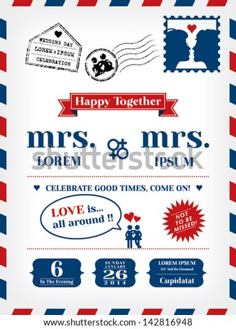 Lesbian Wedding Invitation Template in Postcard and Air mail style - stock vector