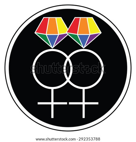 Lesbian women wedding symbols  icon with rainbow representing glbt community marriage   - stock vector