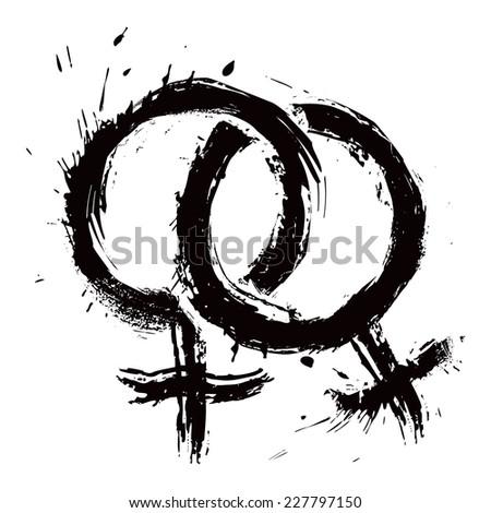 Lesbians couple symbol - stock vector