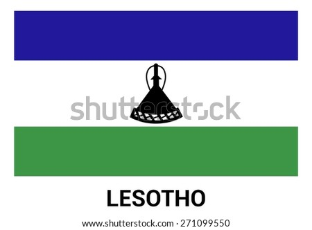 Lesotho Flag isolated vector in official colors and Proportion Correctly - stock vector