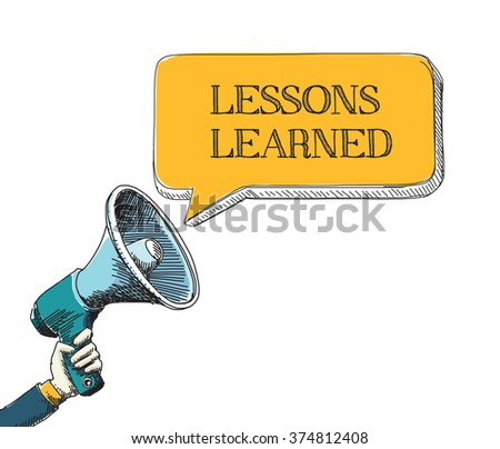 LESSONS LEARNED  word in speech bubble with sketch drawing style - stock vector