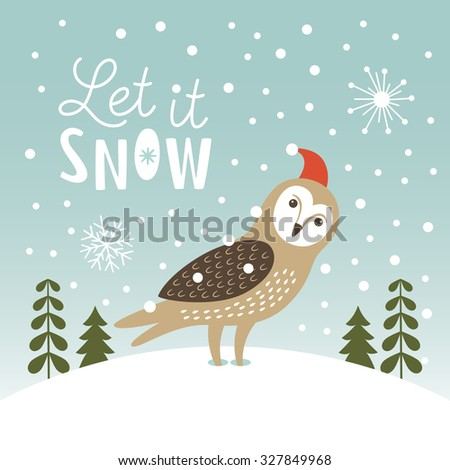Let It Snow, Christmas Illustration - stock vector