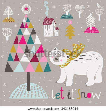Let it Snow. New Year Card - stock vector