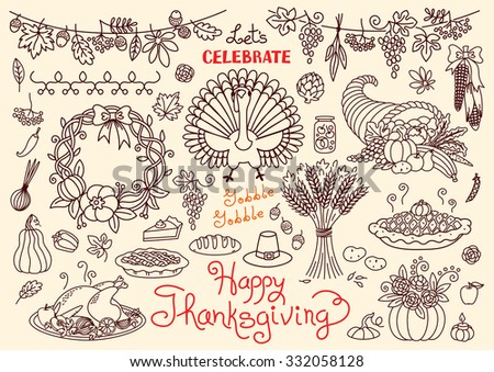 Let's celebrate Happy Thanksgiving doodles set. Traditional symbols - thanksgiving turkey, pumpkin pie, corn, cornucopia, wheat. Freehand vector drawings collection isolated. - stock vector