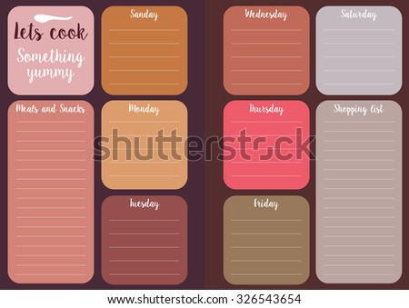 let's cook. Weekly menu, daily planner. editable template with space for shopping list and notes - stock vector
