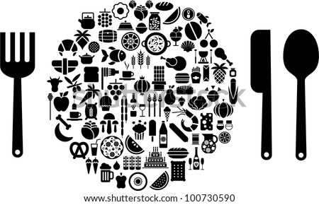 Let's eat! Food and beverage icons in form of sphere with silverware. - stock vector