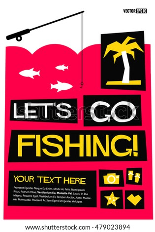 Vector illustration sunny funk music direction stock for Let s go fishing xl