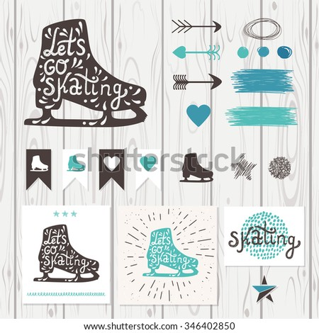 Let's Go Skating typography. Ice Skates label logo design. Skating boot on wood background with retro design elements: arrow, heart, banner, curls and star. Vector illustration. - stock vector