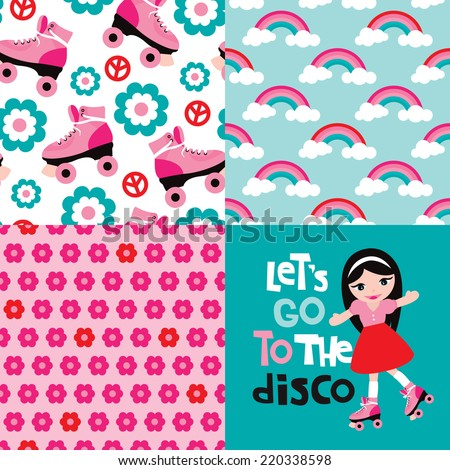 Let's go to the disco design with seamless rainbow flowers and roller skates background pattern in vector collection set - stock vector