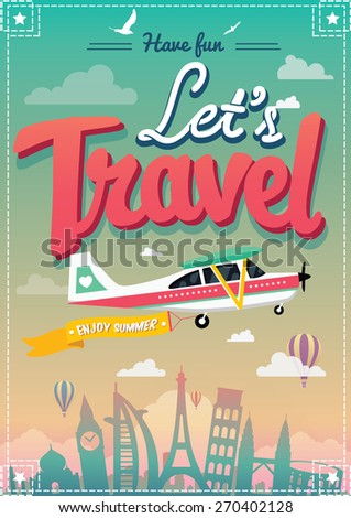 Let's Travel Vector Poster - stock vector