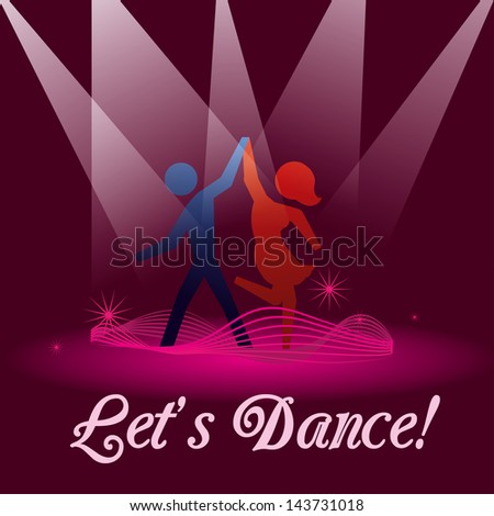lets dance over purple background vector illustration - stock vector