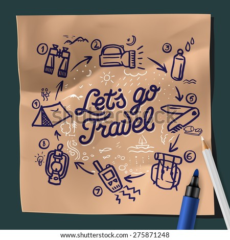 Lets go travel, adventure motivation concept, camping, fishing, hiking, vector illustration.  - stock vector