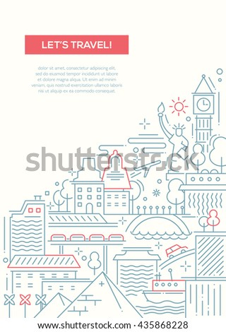 Lets travel - vector line design brochure poster, flyer presentation template, A4 size layout  with world famous landmarks - stock vector