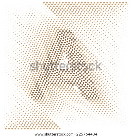Letter A - Abstract dotted optical illusion alphabet  - stock vector