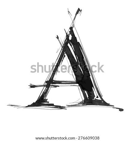 letter A. Alphabet symbol - grunge hand draw paint / vector illustration - stock vector