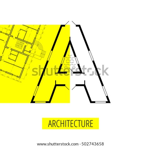 letter A, architectural plan, vector conceptual type