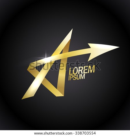Letter A like a gold star, vector logo with arrow. - stock vector