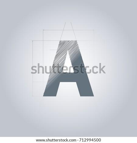 Letter logo alphabet logotype architectural design stock vector alphabet logotype architectural design grey color blueprint with gradient malvernweather Gallery