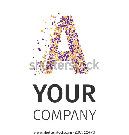 Letter A logo. Alphabet particles logotype vector design. Excellent vector illustration, EPS 10 - stock vector