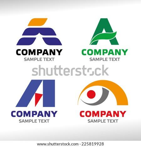 Letter A logo set - stock vector