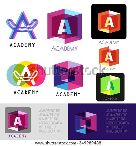 Letter A logo. Template letter A.Academy logo icons. Letter A icon design  elements. Color logo letters A. Business card templates. Colorful letter A logo. Letter A logo brand. Academy symbol - stock vector