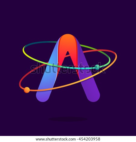 Letter A logo with atoms orbits lines. Bright vector design for science, biology, physics, chemistry company. - stock vector