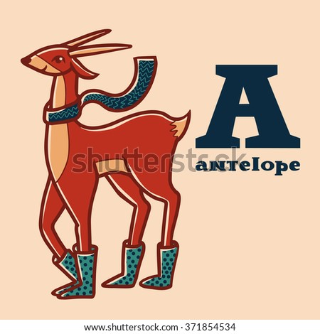 Letter a. Part of animals alphabet. Cartoon antelope wearing boots ang scarf.  - stock vector