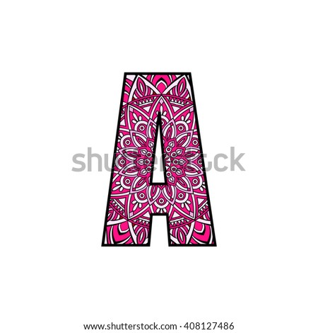 Letter A Typographic Alphabet Contains Vibrant Colors And Mandala Design On White Background