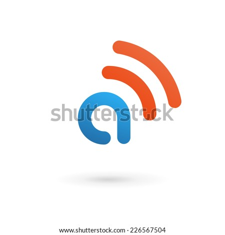 Letter A wireless logo icon design template elements  - stock vector