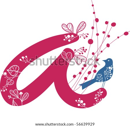 letter A with floral and bird - stock vector