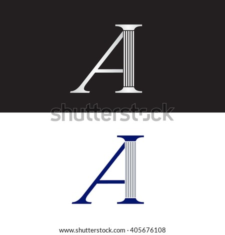 Letter A with law column